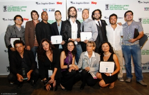 BACK (left to right) Franchesco Ramos (Best High School Film – BREAKAWAY),  Victor Teran (Honorable Mention/Best Director – BEDROOMS), Michael Olmos (Honorable Mention/Best Director – BEDROOMS), Yousef Delara (Honorable Mention/Best Director – BEDROOMS), Alvaro Bechner (Best Opera Prima – MAL DIA PARA PESCAR), Yancy Arias (Honorable Mention/Best Short – BABY), Marcel Rasquin (Audience Choice Award Feature Film – HERMANO), Julian Roman (Honorable Mention/Actor – RETRATOS EN UN MAR DER MENTIRAS), Sandro Fiorin (E PROBIDO FUMAR)     FRONT (left to right) Rodrigo Grande (Best Screenplay – CUESTION DE PRINCIPIOS), Xochilt Gonzalez (Audience Choice Award Documentary – HARVEST OF LONELINESS), Carmen Marron (Audience Choice Award 3rd Place – GO FOR IT!), Fina Torres (Best Feature Film – HABANA EVA), Consuelo Alba (Honorable Mention/Best Documentary – EL ANDALON)